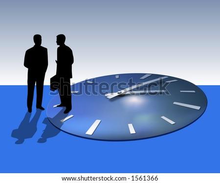 Two businessmen talking. Time flies away. - stock photo