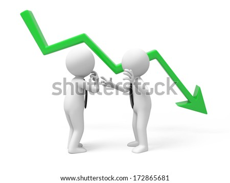 Two businessmen talking with falling graph