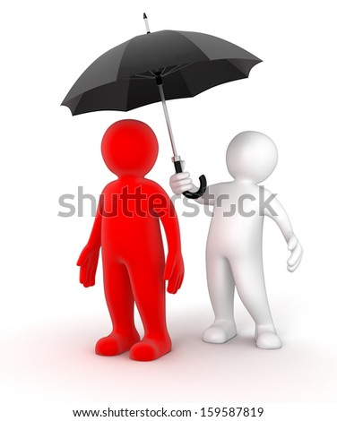 Two businessmen under one umbrella (clipping path included) - stock photo