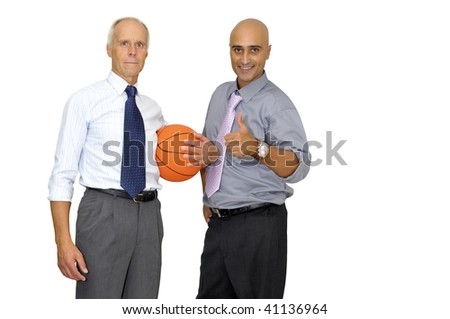 Two businessmen with a basketball isolated in white - stock photo