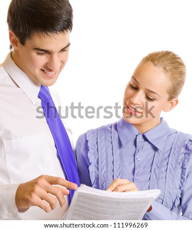 Two businesspeople, or businesswoman and client, with documents, isolated over white background - stock photo