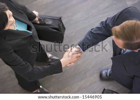 Two businesspeople standing indoors shaking hands - stock photo