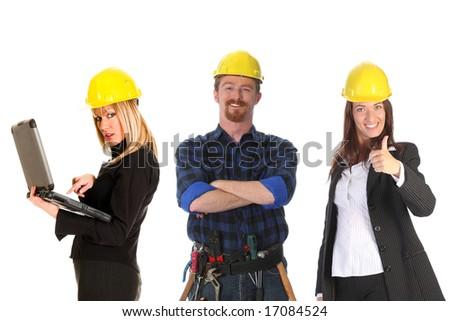 two businesswoman and construction worker on white background - stock photo