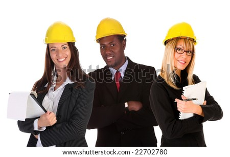 two businesswoman with documents and businessman on white background