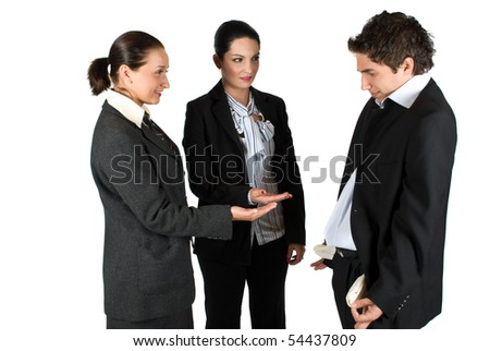 Two businesswomen asking for money and businessman showing his empty pockets - stock photo
