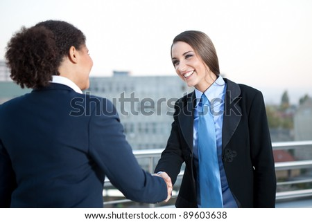 two businesswomen on meeting shaking hands