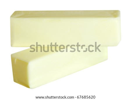 Two butter sticks isolated over white background - stock photo