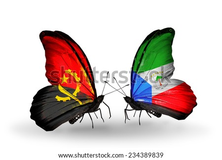 Two butterflies with flags on wings as symbol of relations Angola and Equatorial Guinea - stock photo