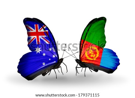 Two butterflies with flags on wings as symbol of relations Australia and Eritrea