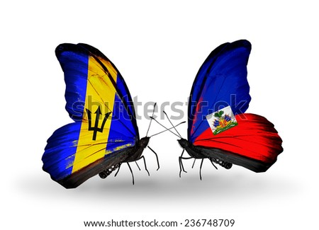 Two butterflies with flags on wings as symbol of relations Barbados and Haiti - stock photo