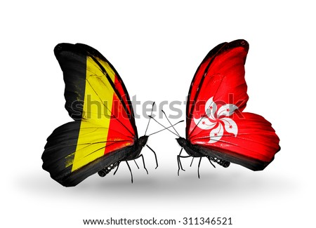 Two butterflies with flags on wings as symbol of relations Belgium and Hong Kong - stock photo