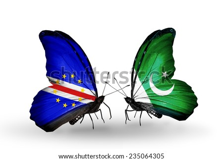Two butterflies with flags on wings as symbol of relations Cape Verde and Pakistan - stock photo