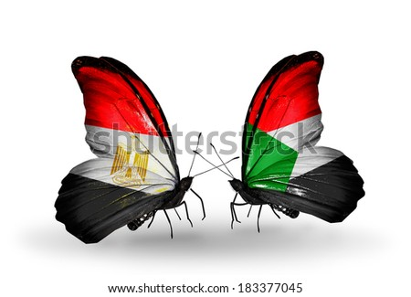 Two butterflies with flags on wings as symbol of relations Egypt and Sudan - stock photo