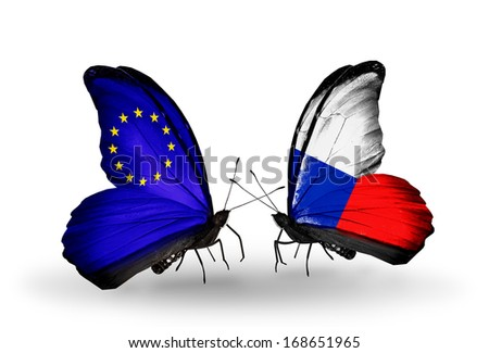 Two butterflies with flags on wings as symbol of relations EU and Czech - stock photo