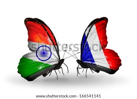 Two butterflies with flags on wings as symbol of relations India and France - stock photo