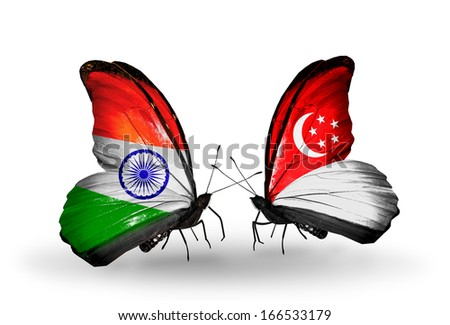 Two butterflies with flags on wings as symbol of relations India and Singapore - stock photo