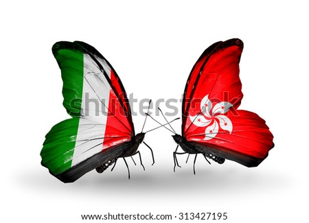 Two butterflies with flags on wings as symbol of relations Italy and Hong Kong - stock photo