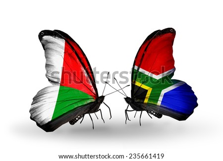 Two butterflies with flags on wings as symbol of relations Madagascar and South Africa  - stock photo