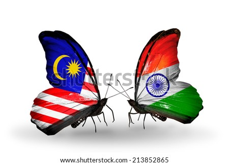 Two butterflies with flags on wings as symbol of relations Malaysia and  India - stock photo