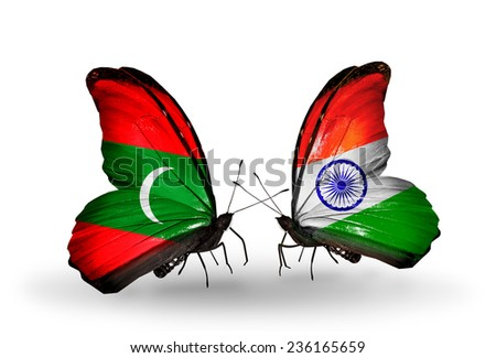 Two butterflies with flags on wings as symbol of relations Maldives and India - stock photo
