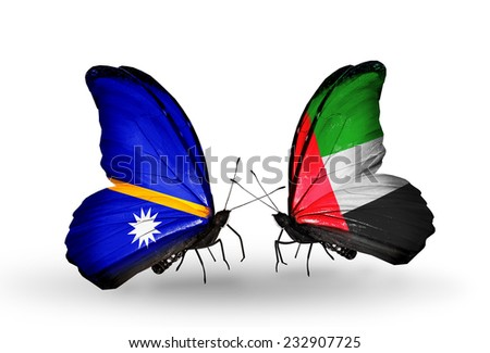 Two butterflies with flags on wings as symbol of relations Nauru and UAE - stock photo