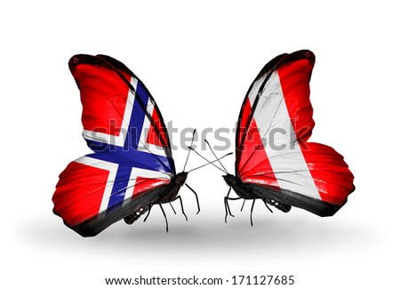 Two butterflies with flags on wings as symbol of relations Norway and Peru - stock photo