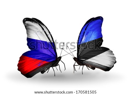 Two butterflies with flags on wings as symbol of relations Russia and  Estonia - stock photo