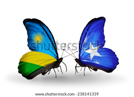 Two butterflies with flags on wings as symbol of relations Rwanda and Somalia - stock photo