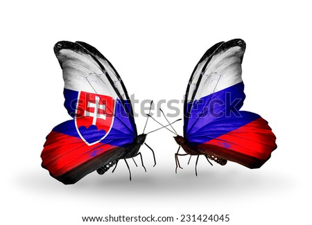 Two butterflies with flags on wings as symbol of relations Slovakia and Russia - stock photo