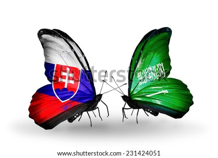 Two butterflies with flags on wings as symbol of relations Slovakia and  Saudi Arabia - stock photo