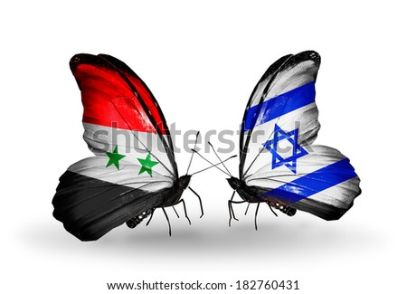 Two butterflies with flags on wings as symbol of relations Syria and Israel - stock photo