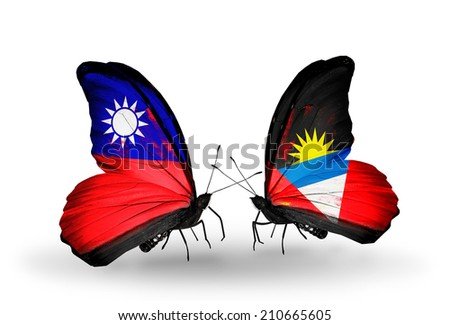 Two butterflies with flags on wings as symbol of relations Taiwan and Antigua and Barbuda - stock photo