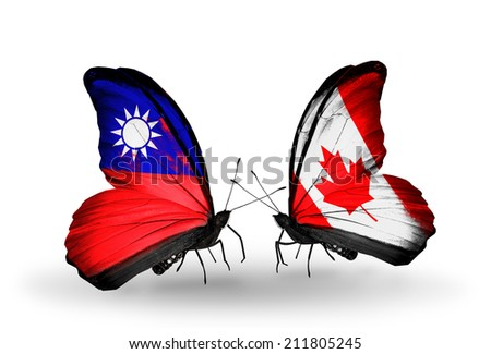 Two butterflies with flags on wings as symbol of relations Taiwan and Canada - stock photo