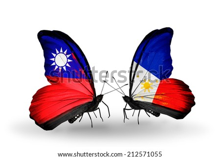 Two butterflies with flags on wings as symbol of relations Taiwan and Philippines - stock photo