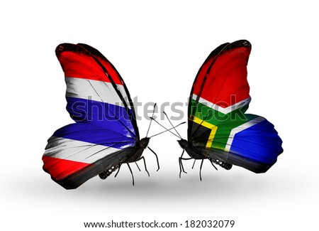 Two butterflies with flags on wings as symbol of relations Thailand and South Africa - stock photo