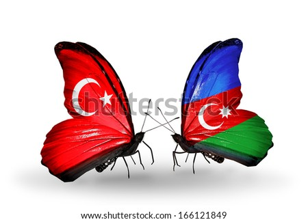 Two butterflies with flags on wings as symbol of relations Turkey and Azerbaijan - stock photo