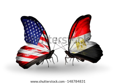 Two butterflies with flags on wings as symbol of relations USA and Egypt - stock photo