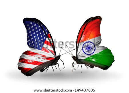 Two butterflies with flags on wings as symbol of relations USA and India - stock photo