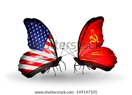 Two butterflies with flags on wings as symbol of relations USA and Soviet Union - stock photo