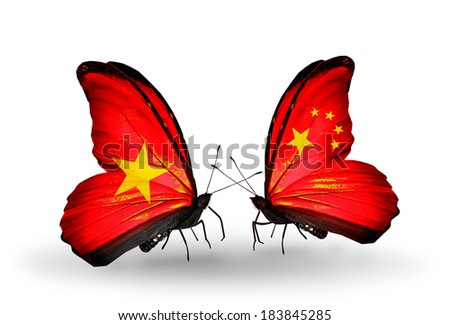 Two butterflies with flags on wings as symbol of relations Vietnam and China - stock photo
