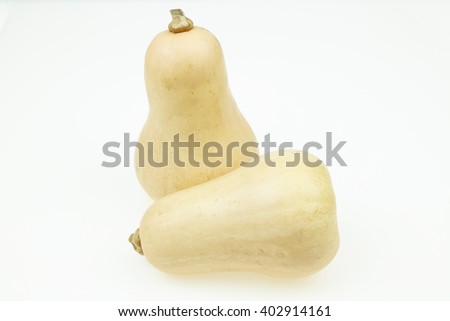 Two butternut squash fruits, on white background.