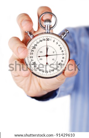 Two buttons stopwatch in outstretched man hand - stock photo