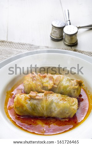 Two cabbage rolls in sauce on a plate. - stock photo