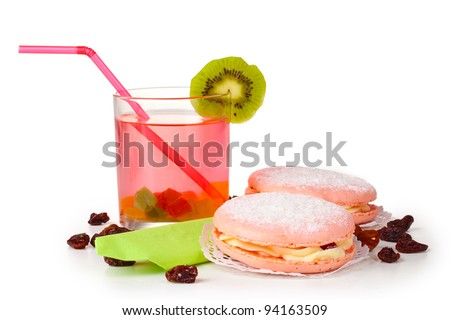 Two cakes and cocktail isolated on white