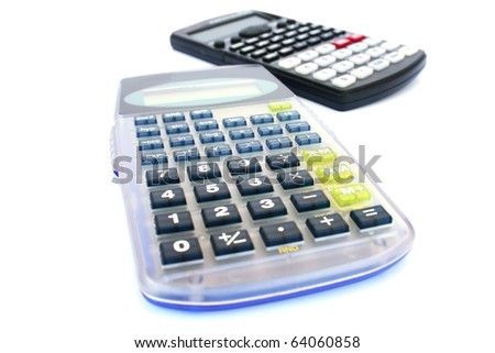 Two calculators isolated on white background. - stock photo