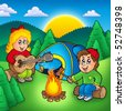 Two camping kids - color illustration. - stock vector