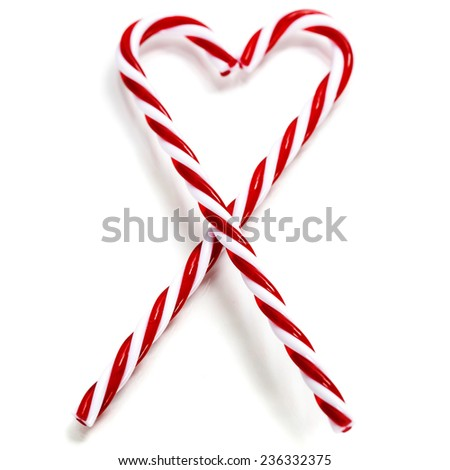 Two Candy Canes in Heart Shape over white