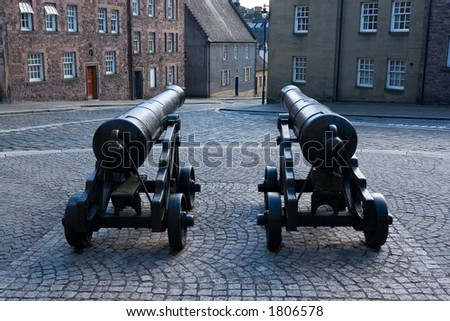Two cannons in the city of Stirling, Scotland