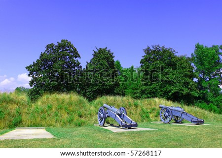 two cannons protecting yorktown virginia during the civil war with room for your text - stock photo