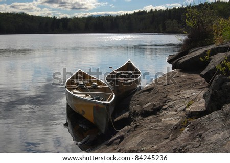Two canoes - stock photo
